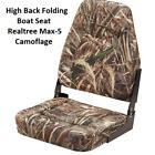 High Back Folding Boat Seat Camo Padded Vinyl Realtree Max 5 Fishing 4 Bolt Mt.