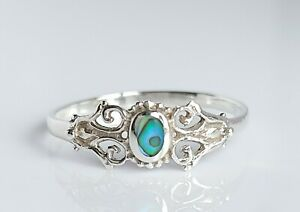 Beautiful Ornate Sterling Silver & Abalone Shell Floral Solitaire Ring UK Size R
