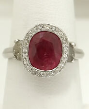 LADIES 14k WHITE GOLD 3.00ct NATURAL OVAL RED RUBY 1 1/5ct DIAMOND HALO RING