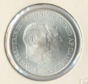 "Dänemark 2 Kroner Silbermünze ""Frederik IX./Grönland"" 1953, ZP1034 B.62 ann.stgl"