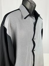 Men's ( New Step ) Black Long Sleeve Dress Shirt  Large Unique Checkered Pattern