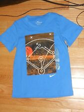 NWT - Nike short sleeved blue, orange & white basketball shirt - 7 boys