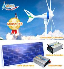 650 W Watt 12 V Wind Turbine Generator+Hybrid Controller+Inverter+Solar Panel