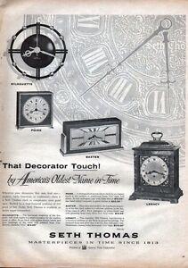 1956 Seth Thomas PRINT AD Desk Wall Clocks Silhouette Baxter Legacy Frame Decor