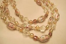 Vintage Japanese Millefiori Necklace Glass Bead Peppermint Candy Cake 3-Strand
