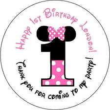 48 1st number minnie mouse stickers Birthday Party 1.67 Inch Personalized