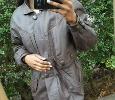Brown leather look aviator bomber jacket coat. Vintage. UK L