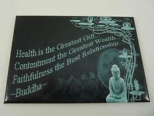 Buddha Quote/Saying Fridge Magnet, Health Contentment Faithfulness, Lotus