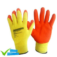 24 Pairs Latex Coated Orange Rubber Work Gloves Mens Safety Builders Gardening