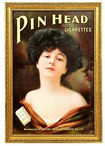 ca1902 DUKES PIN HEAD CIGARETTES CHROMOLITHOGRAPH ADVERTISING SIGN PRETTY WOMAN