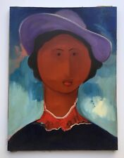 Alberto Ulloa, Signed Original Woman Canvas Painting 1989 Dominican Republic Art