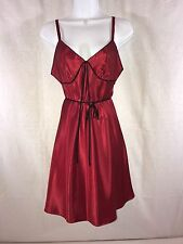 EUC Vintage Adonna Sexy Red Satin Nightgown Sz S/CH Ties at Waist