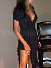 SEXY BLACK LOW CUT PLUNGING NECKLINE MINI CASCADE MAXI LBD EVENING DRESS LARGE L