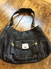 womens handbags and purses/B.Makowsky Black Leather Shoulder Bag
