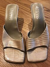 FRANCO SARTO Leather Alligator Crocs Kitten Wedges High Heels Women Shoes Sz 9 #