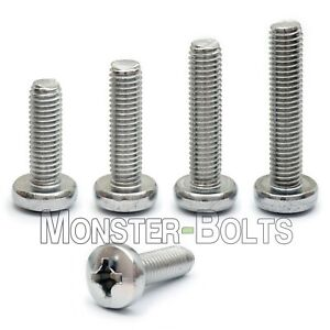 M2.5 Stainless Steel Phillips Pan Head Machine Screws, DIN 7985A Metric A2 18-8