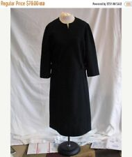 Vintage 1960's Black Day Dress in Textured Polyester Knit Stoner Square