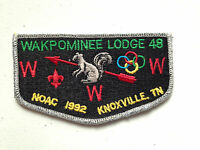 WAKPOMINEE OA LODGE 48 SCOUT SERVICE PATCH FLAP 1992 NOAC DELEGATE SMY RINGS