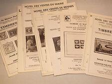 Lot de 9 Catalogues de Ventes Timbres, Cartes Postales et Vieux Papiers