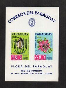 Paraguay, souvenir sheet: flowers and Francisco Solano López monument.