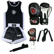 Kids boxing set 5 pieces top shorts gloves skipping rope wrap keychain 3-14 year