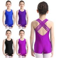 UK Kids Girls Sleeveless Unitard Leotard Dancewear Gymnastics Ballet Dance Dress