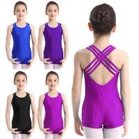 UK Kids Girls Sleeveless Unitard Leotard Dancewear Gymnastics Ballet Dance Dress