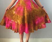 Hippy Gypsy Boho Bohemian Hawaiian Tie Dye Short Skirt Free One Size Knee Length