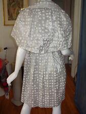 HANII Y Metallic WINDOWPANE CHECK Plaid ART Print CAPE Coat SHIRT DRESS 40 S M