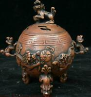 Antique Chinese Bronze Lion Beast Ball Incense Burner Censer Incensory Thurible
