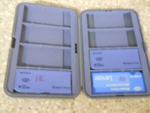 SONY 128 MB & 32 MB & Lexar 128M USED MEM. STICKs for Vintage Sony Camera w case
