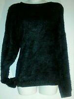 Woman sweater large black SOFT Furry long sleeves loungewear stretchy causal top