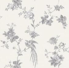 Rasch Black White Floral Wallpaper Flower Leaf Birds Branches Animal Paste Wall