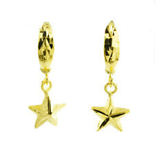 PAIR EARRINGS GOLD PLATED LOOP WITH STAR 24K SHINNING DELUXE SPARKLE