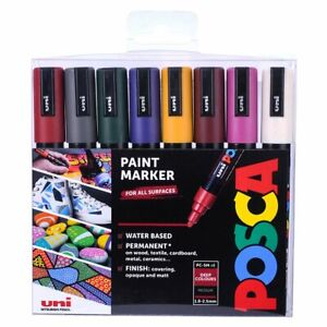 Uni Posca PC-5M Paint Marker Pens - Medium Point Tip - Deep 8 Set - NEW COLORS