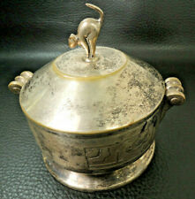 Art Deco French silver/Bronze Halloween Cat Handle Lid Sugar Bowl-Jar box