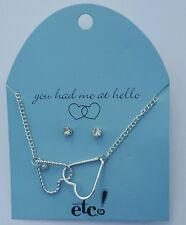 Rue 21 Etc Silver Plated Double Heart Necklace & Cubic Zirconia Earring Set