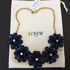 J. Crew Factory Crystal Floral Burst Necklace In Navy NWT AUTHENTIC With Pouch