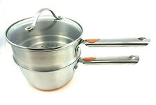 Revere Ware Stainless Steel Copper Copper Clad 2 qt. Sauce Pan Steamer Glass lid