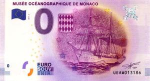 98 MONACO Musée océanographique, Navire, 2017, Billet Euro Souvenir