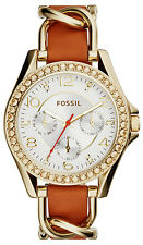 Fossil ES3723 Riley Silver Dial Brown Leather Strap Multifunction Women's Watch