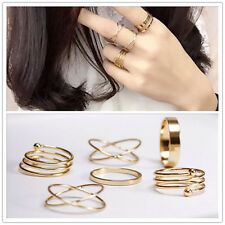 Korean Pop Women Knuckle Ring Yellow Gold Plated Finger Tip Stacking Rings 6PCS