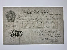 More details for 1944 bank of england peppiatt war £5 white banknote used