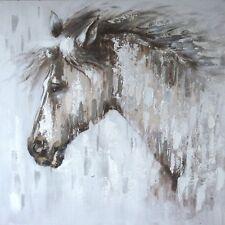 Pferdekopf Porträt Ölgemälde auf Leinwand Bild 80cm x 80cm handgemalt NEU