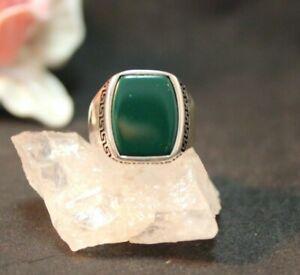 Silberring Männerring Siegelring Ring Sterlingsilber 925 Handarbeit Jade Gr 59