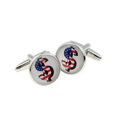 Stars & Stripes Dollar Sign US Design Round Cufflinks - X2BOC261