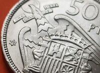 @ESTRELLA TRUCADA@ 50 PESETAS 1957 * 72 moneda de Nickel España FRANCO 1972 SC