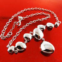 A699 GENUINE 925 STERLING SILVER S/F LADIES LONG DROP PENDANT NECKLACE CHAIN