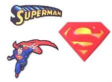 Superman - 3 verschiedene Aufbügel Flicken Bügelbilder Applikation Aufnäher -NEU