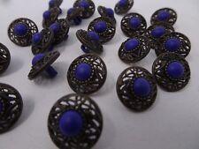 Vintage Purple Faux Rhinestone w/ Ornate Border Shank Buttons 15mm Lot of 8 A86